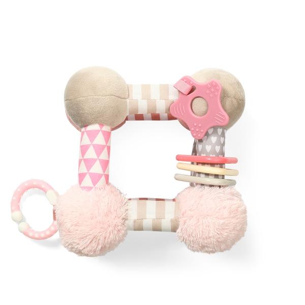 BabyOno Plyšová edukační závěsná hračka Cube - růžová