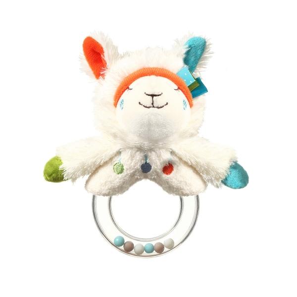 BabyOno Plyšová hračka s chrastítkem Lama Bob - bílá