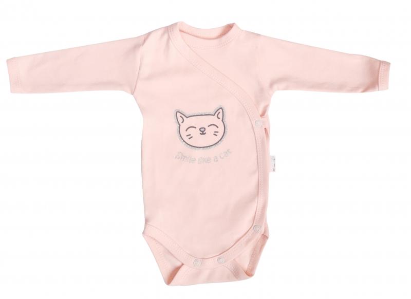 Mamatti Body Cat - dlouhý rukáv - zapínání bokem - růžové, vel. 62