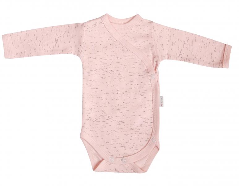 Mamatti Body Cat - dlouhý rukáv - zapínání bokem - růžové/žíhané