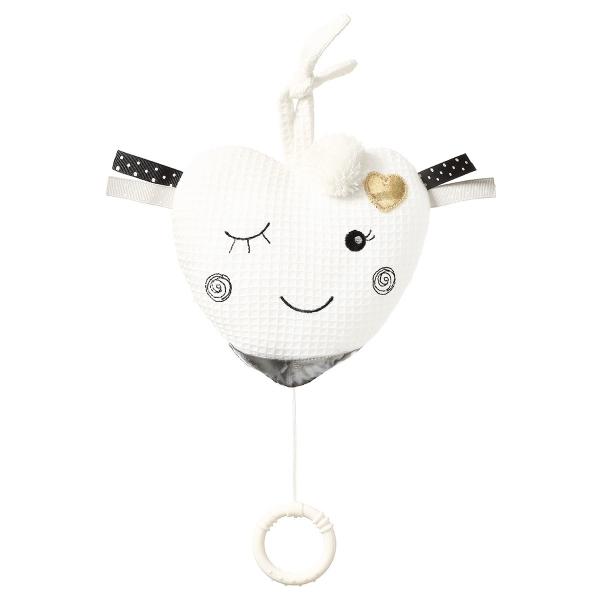 BabyOno Závěsná plyšová hračka s melodií Blinky Heart - bílá