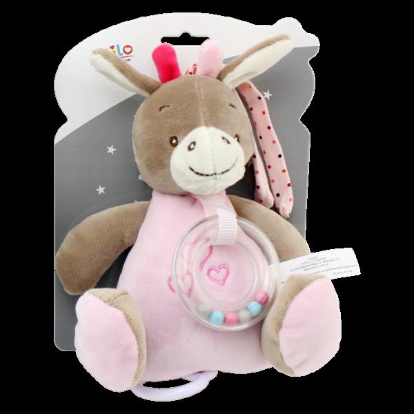 Tulilo Závěsná plyšová hračka s melodií Oslík, 18 cm - růžový, K19