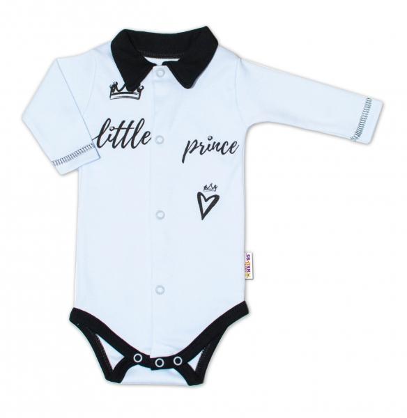 Baby Nellys Body dlouhý rukáv s límečkem, vel. 62, modré Little Prince