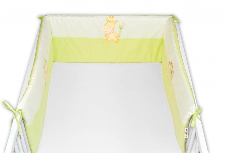 Baby Nellys Mantinel do postýlky 35x180 cm - zelený opička/žirafka