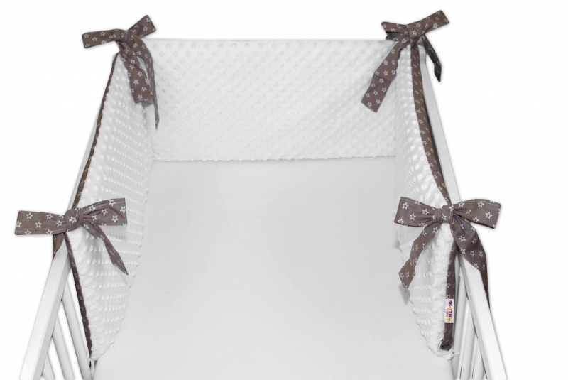 Baby Nellys Mantinel do postýlky 180x30 cm s minky, hvězdičky bílé