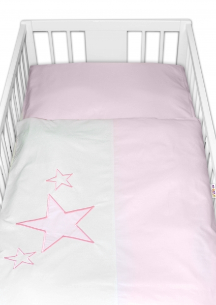 Baby Nellys Povlečení do postýlky Baby Stars - růžové