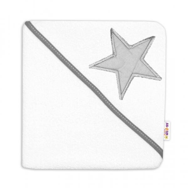 Baby Nellys Dětská termoosuška Baby Stars s kapucí, 80 x 80 cm - bílá/šedá