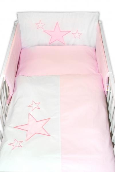 Baby Nellys Mantinel s povlečením Baby Stars - růžový, vel. 135x100cm
