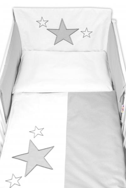 Baby Nellys Mantinel s povlečením Baby Stars - šedý, vel. 135x100 cm