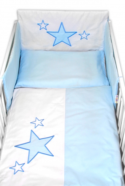 Baby Nellys Mantinel s povlečením Baby Stars - modrý, vel. 135x100 cm