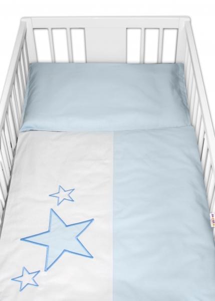Baby Nellys Povlečení do postýlky Baby Stars - modré, vel. 135x100 cm