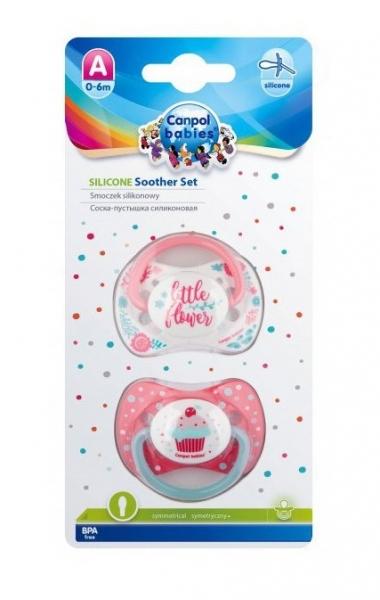 Sada 2 ks symetrických dudlíků, 0 - 6 m, Canpol Babies - Little flower, Cupcake