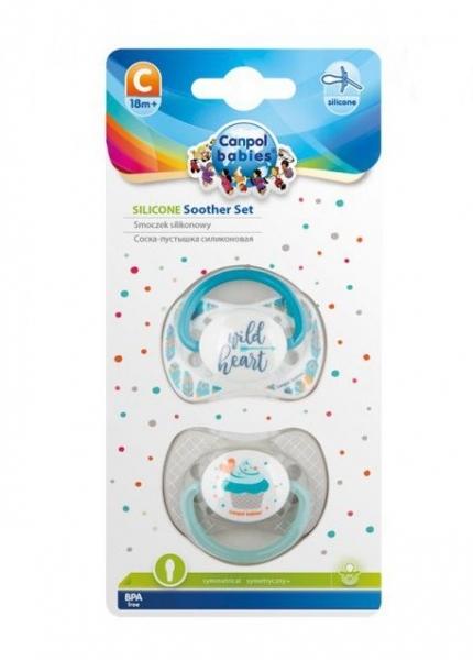 Sada 2 ks symetrických dudlíků, 0 - 6 m, Canpol Babies - Wild heart, Cupcake