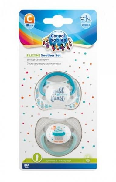 Sada 2 ks symetrických dudlíků, 6 - 18 m, Canpol Babies - Wild heart, Cupcake