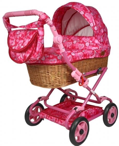 NESTOR Dětský proutěný kočárek pro panenky Anička - růžový se srdíčky