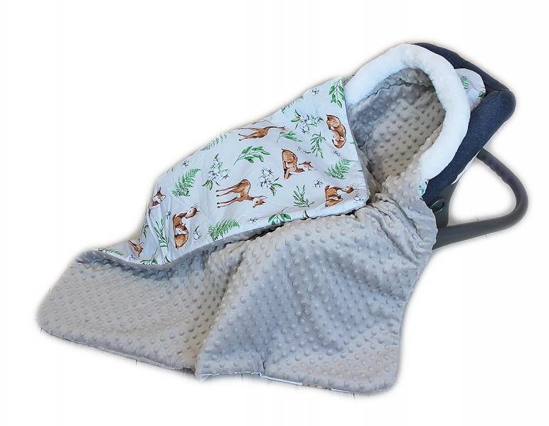Baby Nellys Bavlněná oboustranná dečka 3v1 s minky a kožešinkou, 90x90 cm, srnky