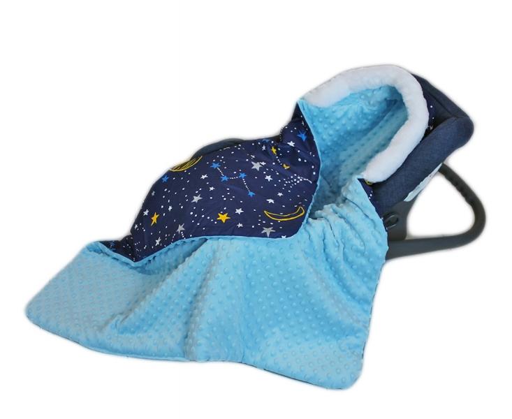 Baby Nellys Bavlněná oboustranná dečka 3v1 s minky a kožešinkou, 90x90 cm, bar. vesmír