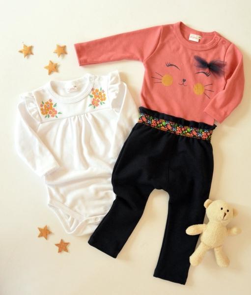 K-Baby Sada 2 x body dl. rukáv + 1 x tepláčky, Květinky, bílá/losos/granát, vel. 80