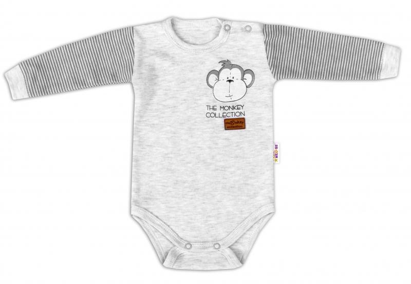 Baby Nellys Body dlouhý rukáv Monkey - sv. šedý melírek, vel. 74