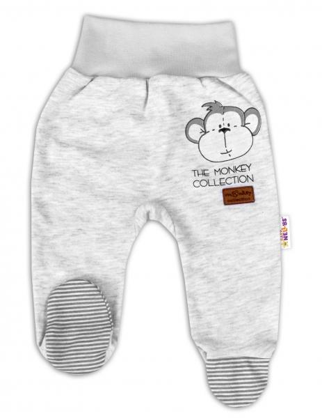 Baby Nellys Kojenecké polodupačky Monkey - sv. šedý melírek