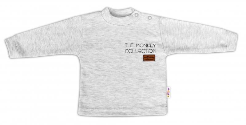 Baby Nellys Bavlněné tričko dlouhý rukáv Monkey - sv. šedý melírek, vel. 74