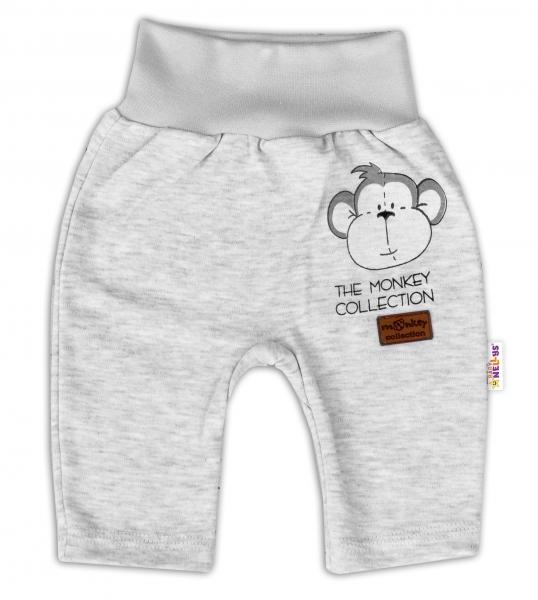 Baby Nellys Bavlněné tepláčky Monkey - sv. šedý melírek, vel. 80, Velikost: 80 (9-12m)