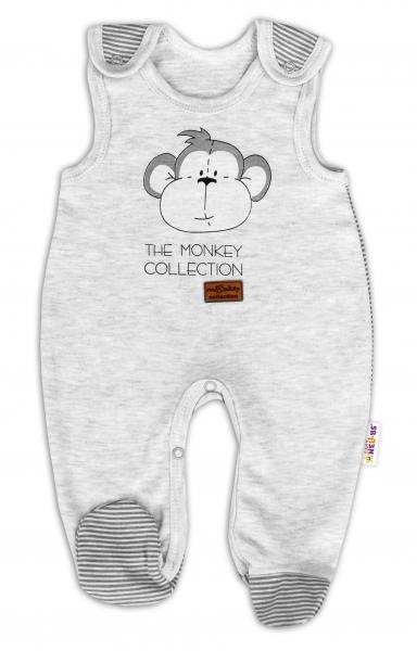 Kojenecké bavlněné dupačky Baby Nellys Monkey - sv. šedý melírek