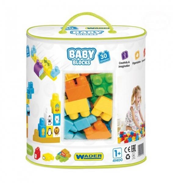 Kostky baby blocks  Wader, 30 dílků + nálepky