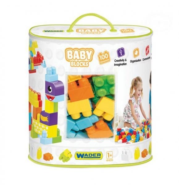 Kostky baby blocks  Wader, 100 dílků + nálepky