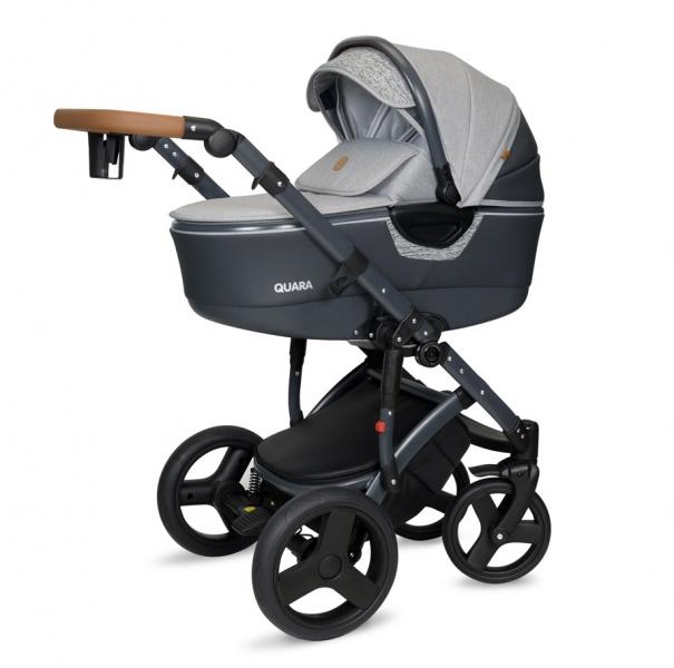 Kočárek Coto Baby 2 v 1 QUARA 2021 - Grafit Len Eco