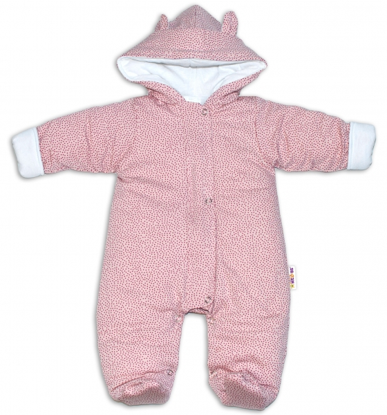 Baby Nellys ® Kombinézka s kapucí a oušky, Puntíky - růžová, vel. 68