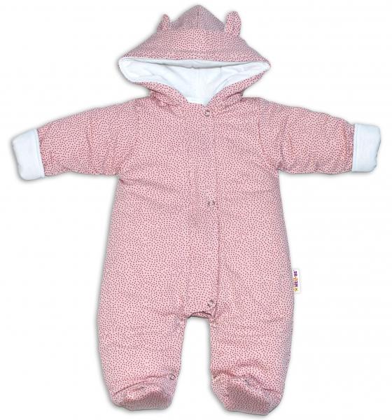 Baby Nellys ® Kombinézka s kapucí a oušky, Puntíky - růžová, vel. 74