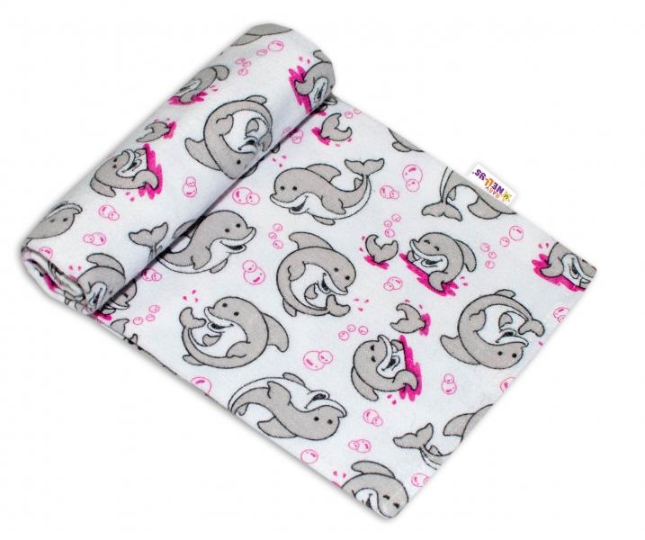 Baby Nellys Kvalitní flanelová plenka, 70x80cm - Delfínci