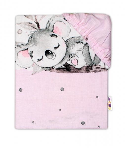 Baby Nellys Dětské bavlněné prostěradlo do postýlky - Medvídek Koala, růžové, 140 x 70 cm