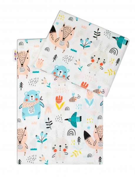 Baby Nellys 2 dílné bavlněné povlečení - Forest girl - bílé, roz. 135x100 cm