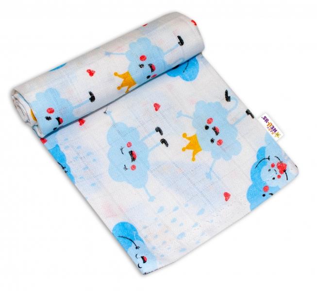 Baby Nellys Kvalitní bavlněná plenka - Tetra Premium, 70x80cm - Mráčky