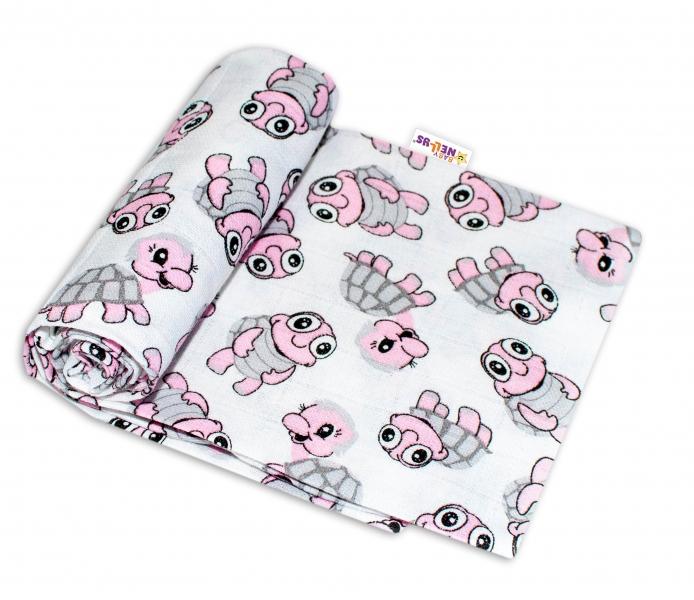 Baby Nellys Kvalitní bavlněná plenka - Tetra Premium, 70x80cm - Želvičky růžové
