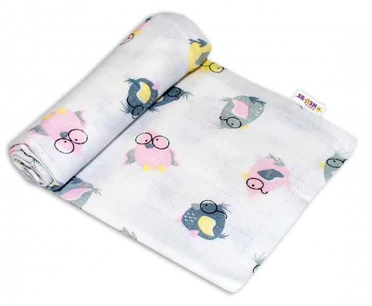 Baby Nellys Kvalitní bavlněná plenka - Tetra Premium, 70x80cm - Ptáčci
