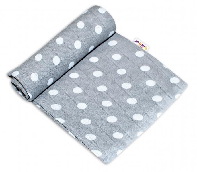 Baby Nellys Kvalitní bavlněná plenka - Tetra Premium, 70x80cm - Tečky bílé na šedé -