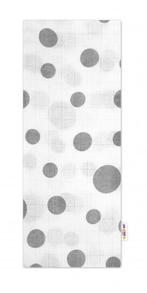 Baby Nellys Kvalitní bavlněná plenka - Tetra Premium, 70x80cm - Puntíky šedé na bílé