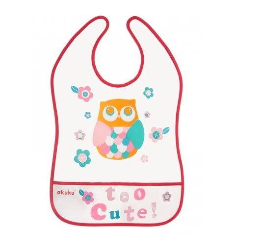 AKUKU Plastový bryndák/zástěrka s kapsičkou Owl -  malinový