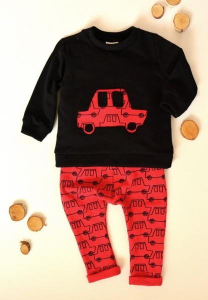 K-Baby Sada triko/mikinka + tepláčky Auto - černá/červená