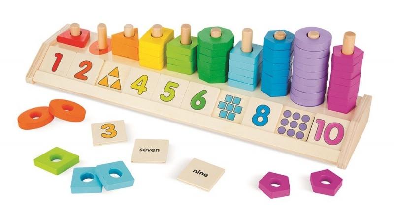 Melissa&Doug Dřevěná vzdělávací hračka - počítání, barvy, tvary