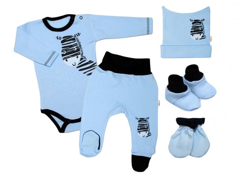 Baby Nellys 5-ti dílná soupravička do porodnice Zebra - modrá, vel. 56
