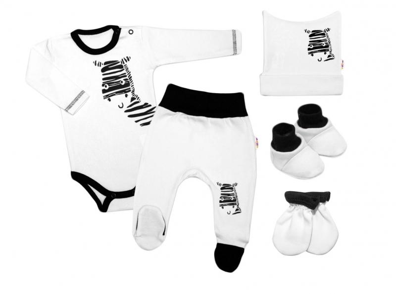 Baby Nellys 5-ti dílná soupravička do porodnice Zebra - bílá, vel. 56