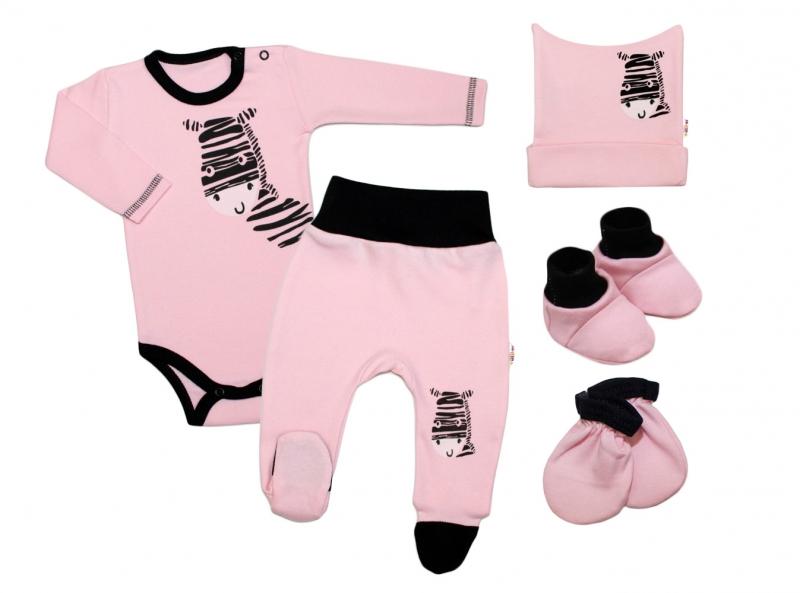 Baby Nellys 5-ti dílná soupravička do porodnice Zebra - růžová, vel. 62