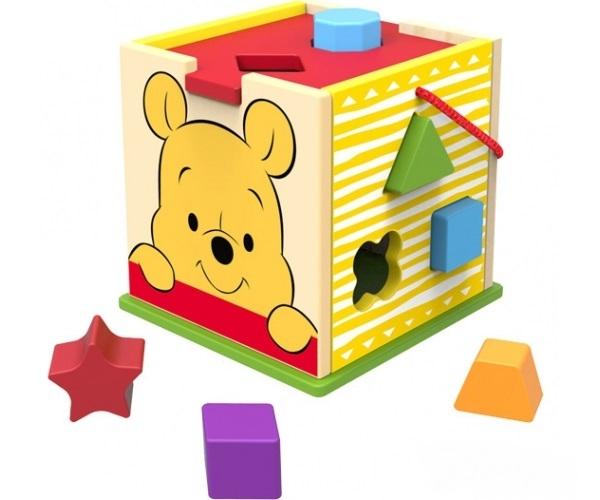 Dřevěná edukační kostka Disney vkládací - Medvídek Pú