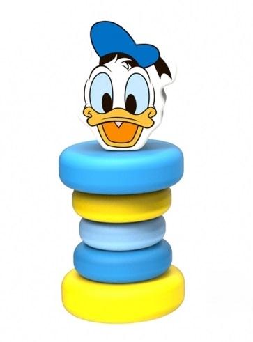Dřevěné chrastítko Disney, Kačer Donald, 5 x 5 x 12 cm