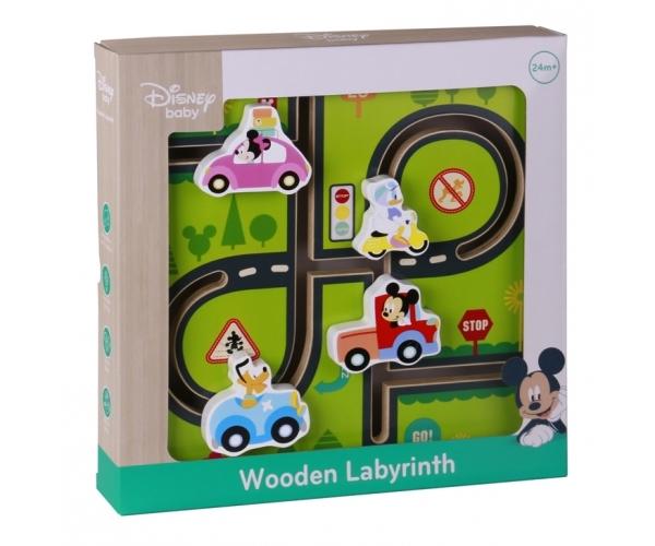 Disney dřevěný motorický labyrint Mickeyho svět,  30 x 30 x 3 cm