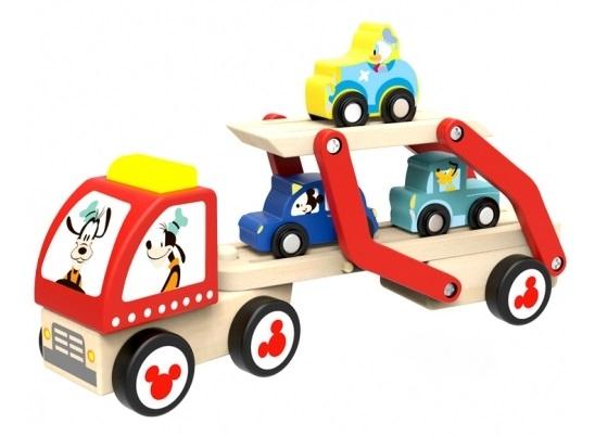 Disney dřevěný Goofyho tahač pro přepravu autíček s Mickeym, Donaldem a Plutem,29x12x7cm